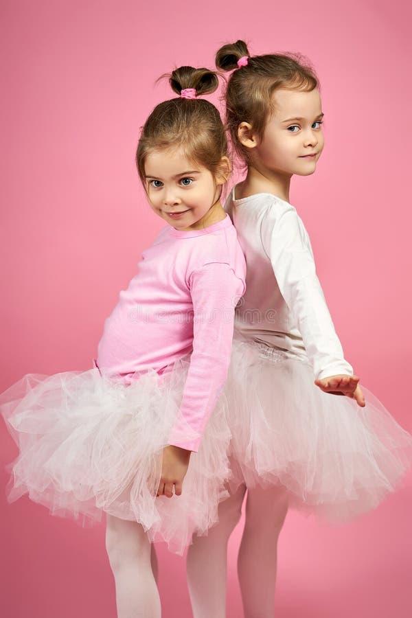 Zwei nette kleine Mädchen in Tulle-Röcken auf einem rosa Hintergrund lizenzfreies stockbild