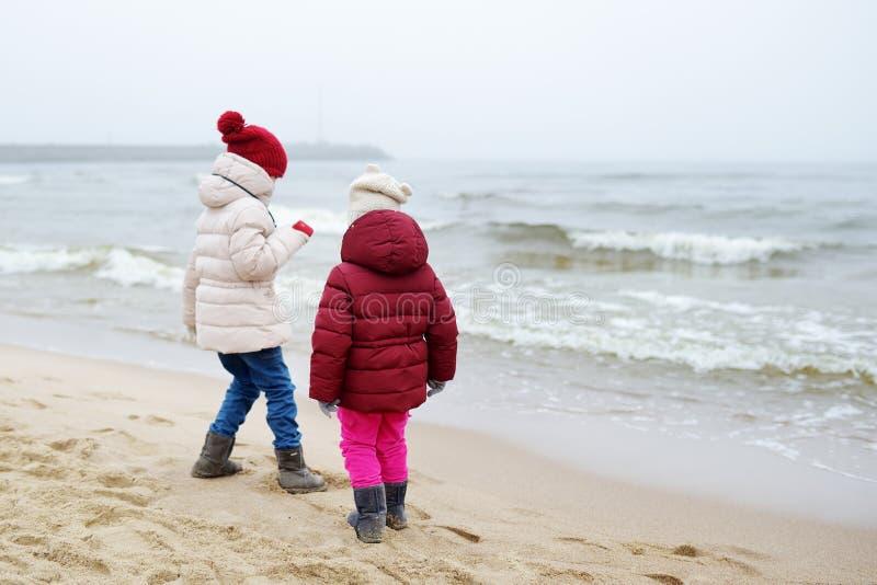 Zwei nette kleine Schwestern, die Spaß zusammen am Winterstrand am kalten Wintertag haben Kinder, die durch den Ozean spielen stockbild