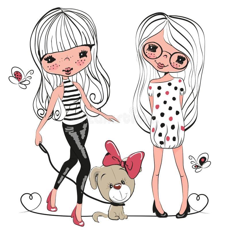 Zwei nette Mädchen und ein Hund lizenzfreie abbildung
