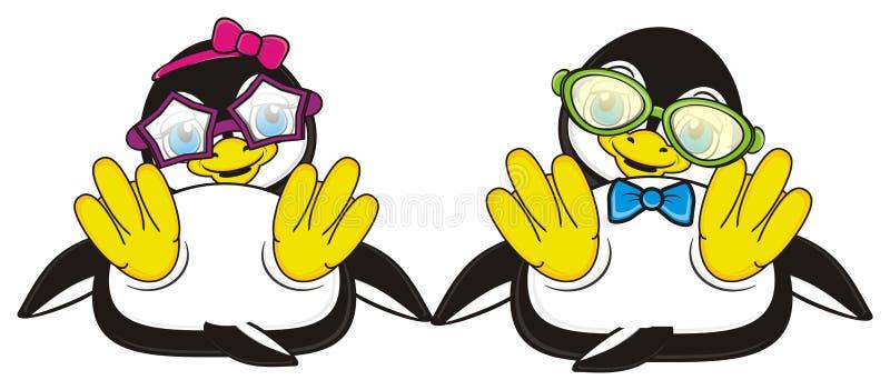 Zwei nette Pinguine in den Sommergläsern stock abbildung