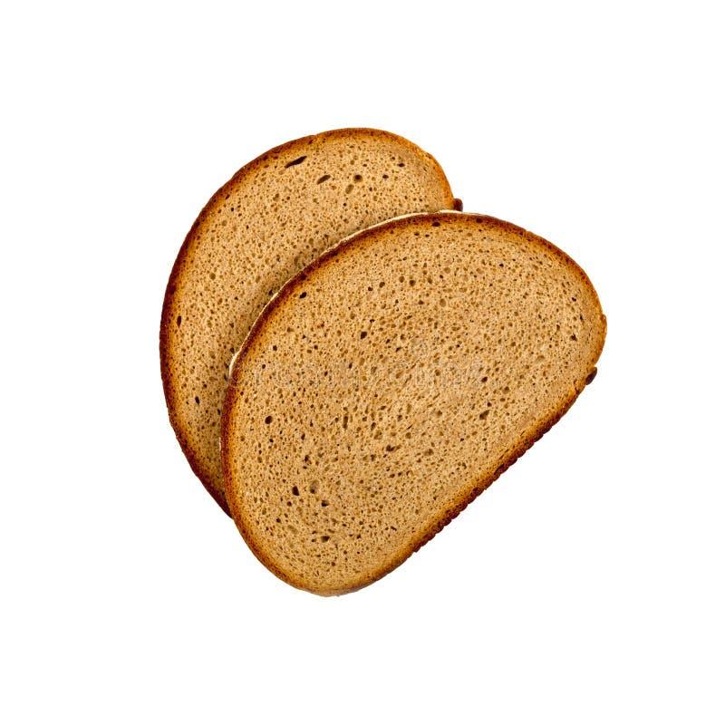 Zwei neue gebackene Brotscheiben lokalisiert auf weißem Hintergrund lizenzfreies stockfoto