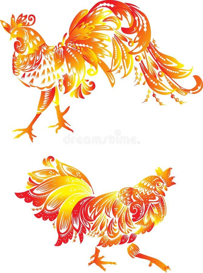 Zwei orange Flammenhähne auf Weiß stock abbildung
