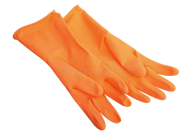 Zwei orange Gummihandschuhe. lizenzfreie stockbilder