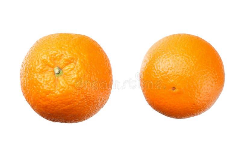 Zwei Orangen getrennt auf weißem Hintergrund Gesunde Nahrung Beschneidungspfad eingeschlossen lizenzfreie stockfotos