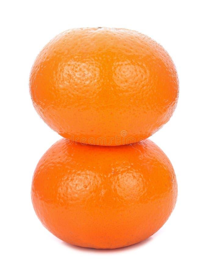Zwei Orangen getrennt auf weißem Hintergrund stockfoto