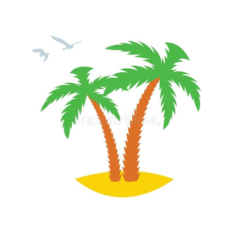 Zwei Palmen auf einer sandigen Insel mit Fliegen hinter Möven ikone Auch im corel abgehobenen Betrag stock abbildung