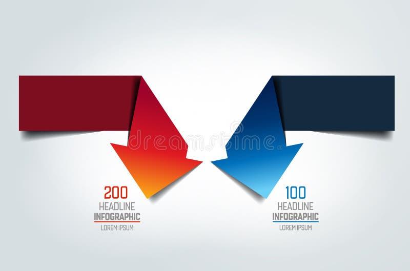 Zwei Pfeile in der entgegengesetzten Richtung machend zu rechtes engle infographic, Diagramm, Entwurf, Diagramm lizenzfreie abbildung