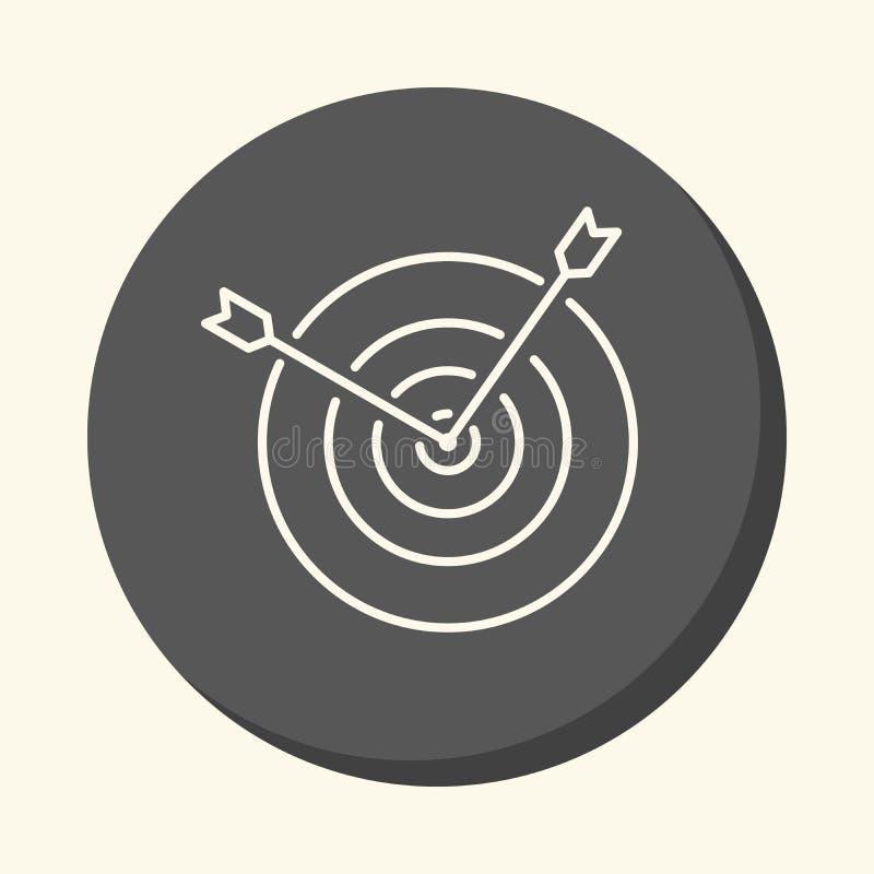 Zwei Pfeile, die heraus von der Mitte des Ziels, eine kreisförmige lineare Ikone mit der Illusion des Volumens haften stock abbildung