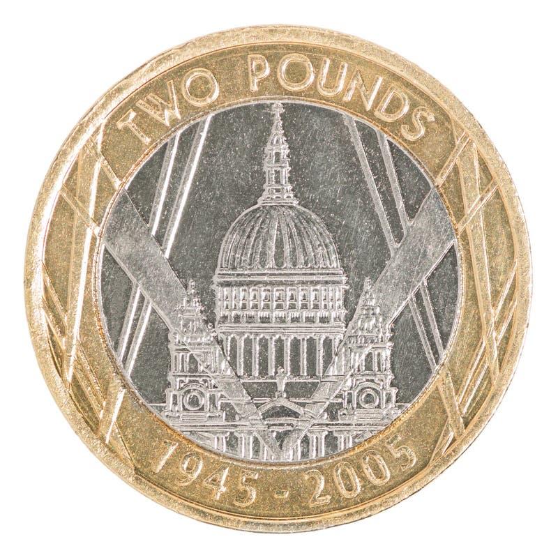 Zwei Pfund Münze stockbilder