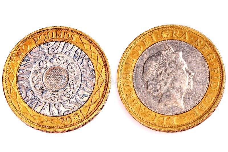 Zwei Pfund Münzen stockbilder