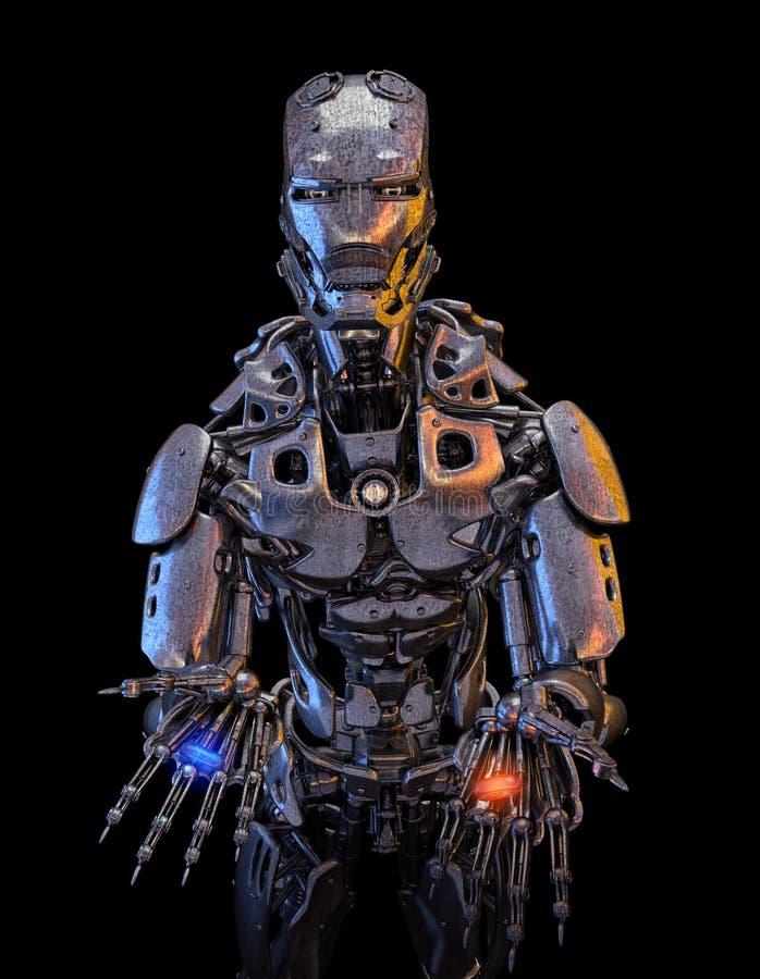 Zwei Pillen, blau und rot auf androiden Händen des Roboters Auserlesenes Konzept Abbildung 3D stock abbildung