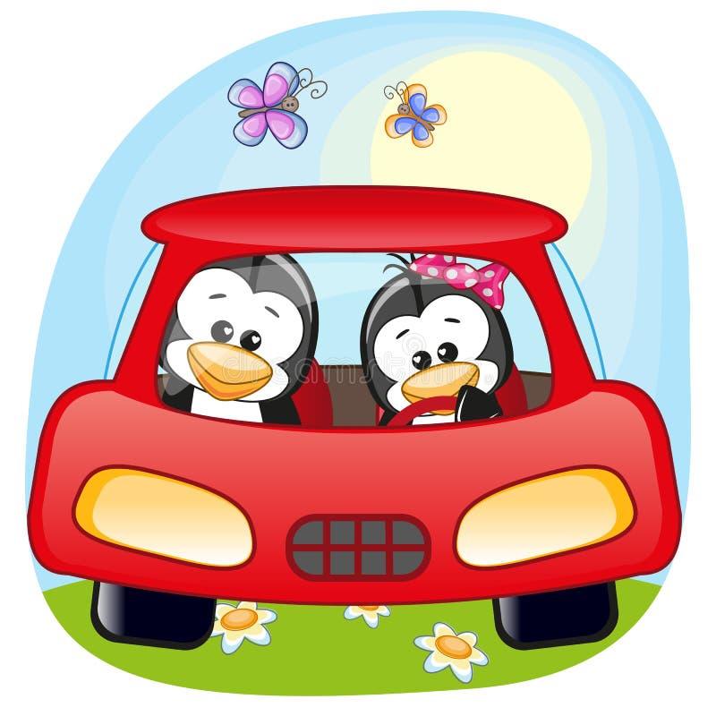 Zwei Pinguine in einem Auto lizenzfreie abbildung