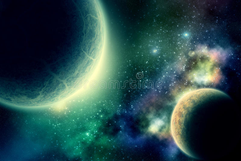 Zwei Planeten stockfotos