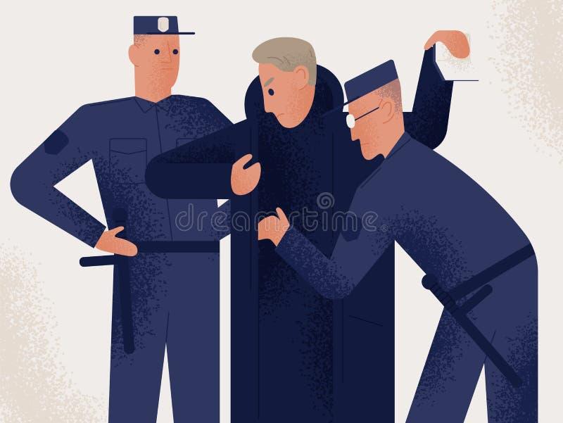 Zwei Polizisten gekleidet dem Uniformholdingsuchim männlichen Verdächtigen oder -verbrecher Mann kontrolliert von den Paaren Poli stock abbildung