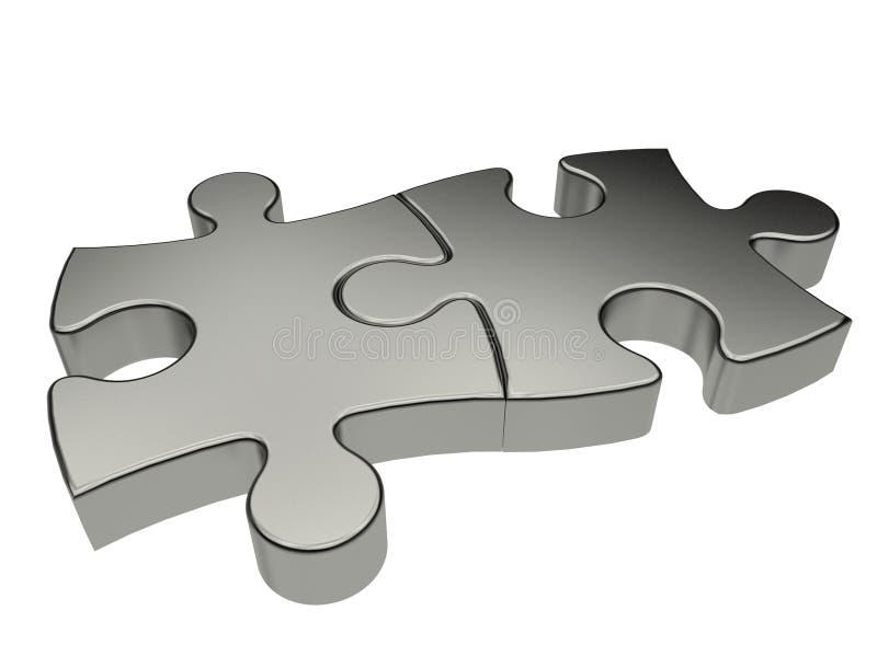 Zwei Puzzlespielstücke getrennt stock abbildung