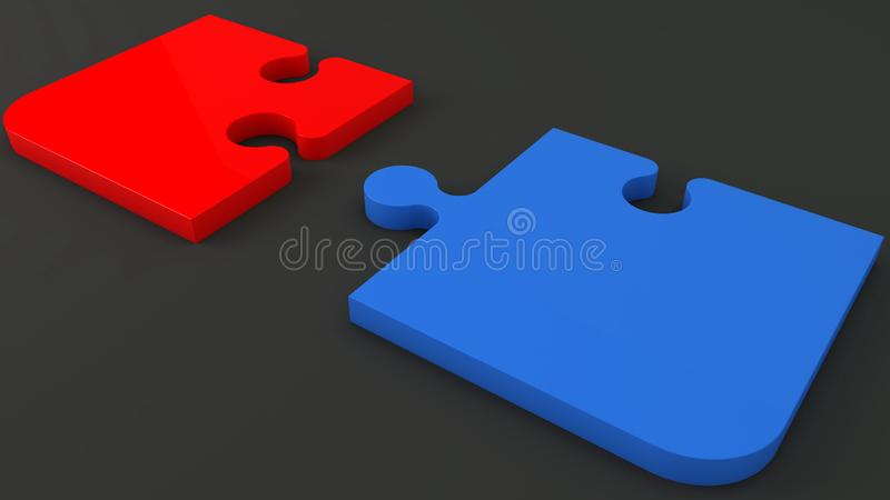 Zwei Puzzlespielstücke in Rotem und in Blauem auf Schwarzem stock abbildung