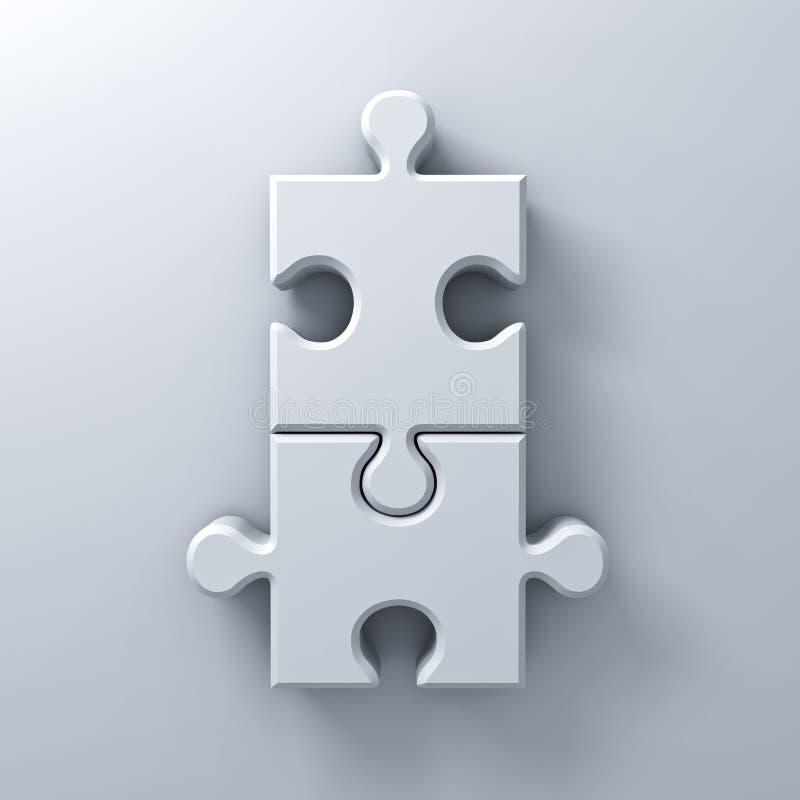 Zwei Puzzlestücke auf weißem Wandhintergrund mit Wiedergabe des Schattens 3D vektor abbildung