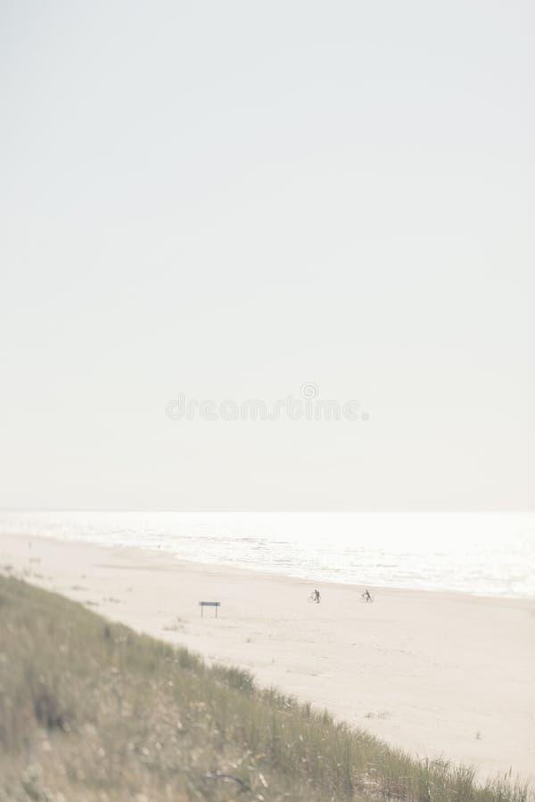 Zwei Radfahrer auf Strand im Herbst lizenzfreie stockfotos
