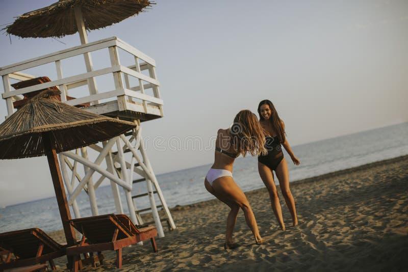 Zwei recht junge Frauen, die Spaß auf dem Strand haben lizenzfreies stockbild