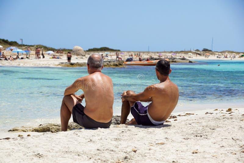 Zwei reife sportliche Männer, die auf Strand und dem Plaudern sitzen lizenzfreie stockbilder