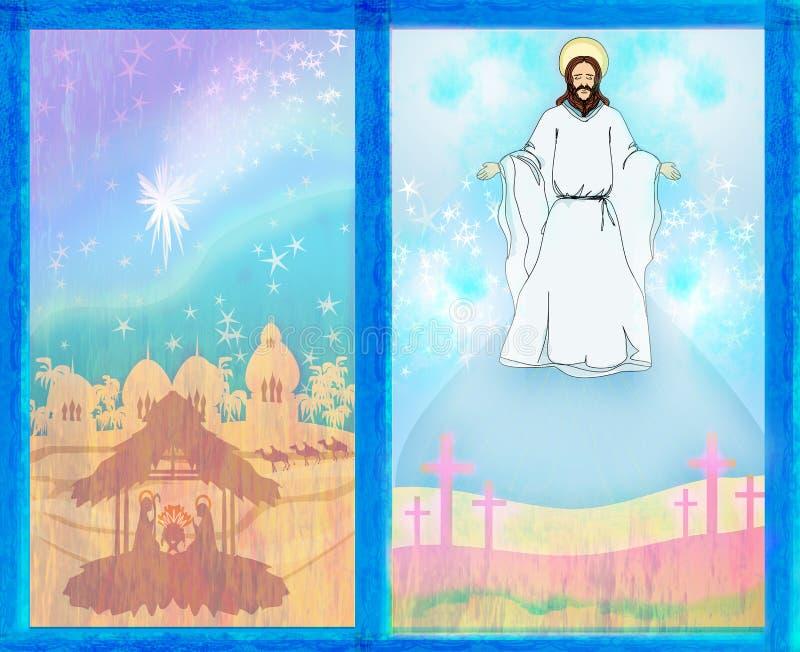 Zwei religiöse Bilder - Jesus Christ segnen und Geburt von Jesus lizenzfreie abbildung