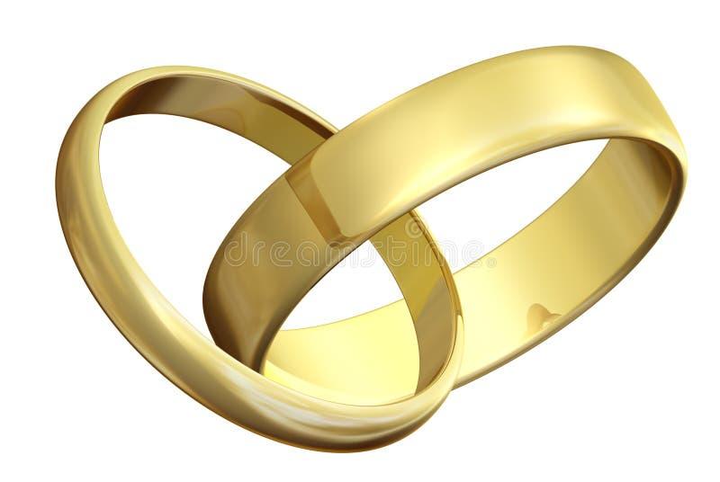 Zwei Ringe Der Goldenen Hochzeit Stock Abbildung