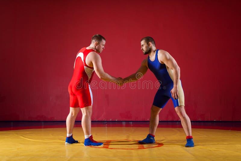 Zwei Ringkämpfer der jungen Männer lizenzfreie stockfotos