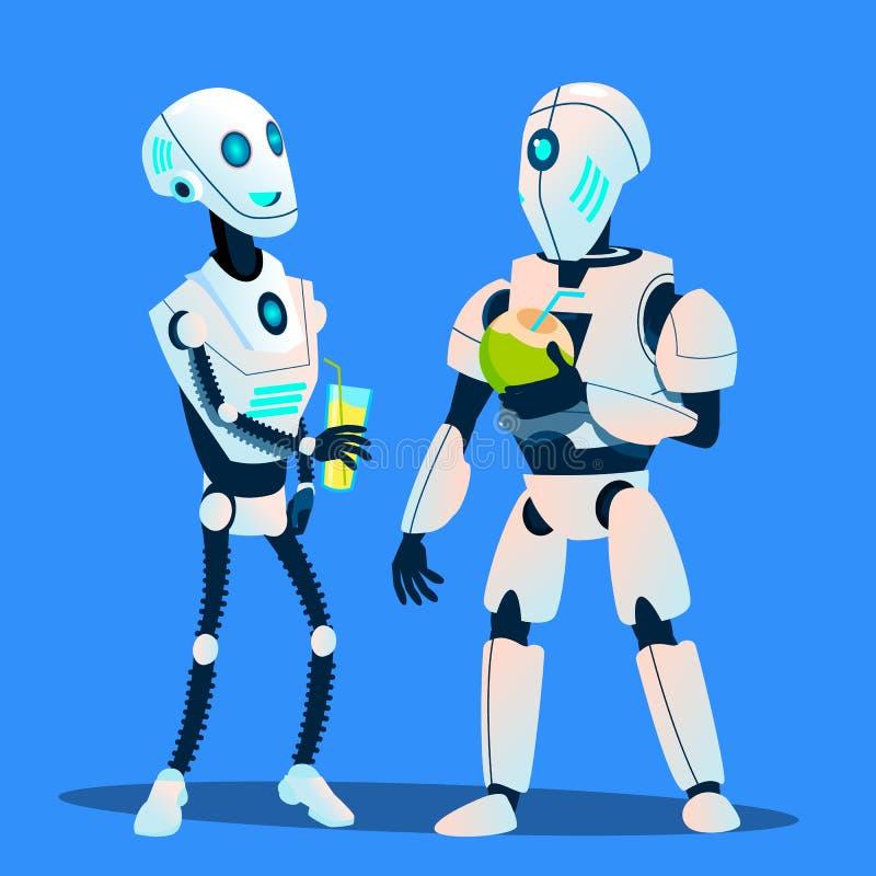 Zwei Roboter, die Cocktails trinken und Vektor sprechen Getrennte Abbildung lizenzfreie abbildung