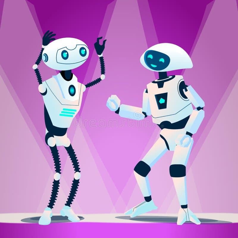 Zwei Roboter-Tanzen am Disco-Vektor Getrennte Abbildung lizenzfreie abbildung