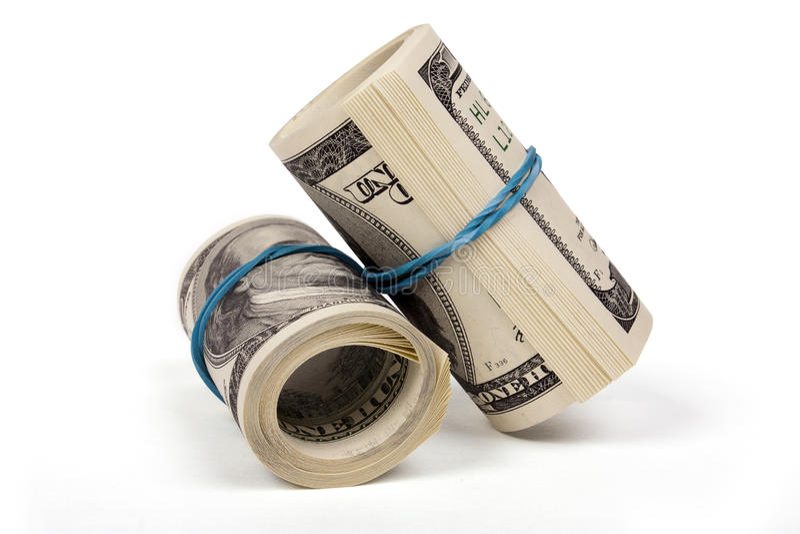 Zwei Rollen von den Dollar stockfotos
