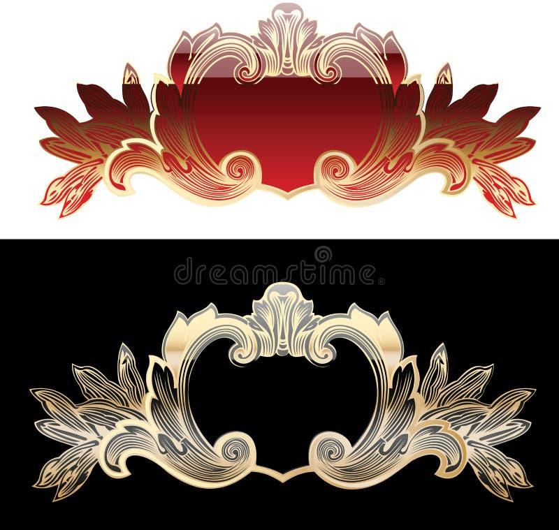Zwei rot und Goldauslegung-Elemente vektor abbildung
