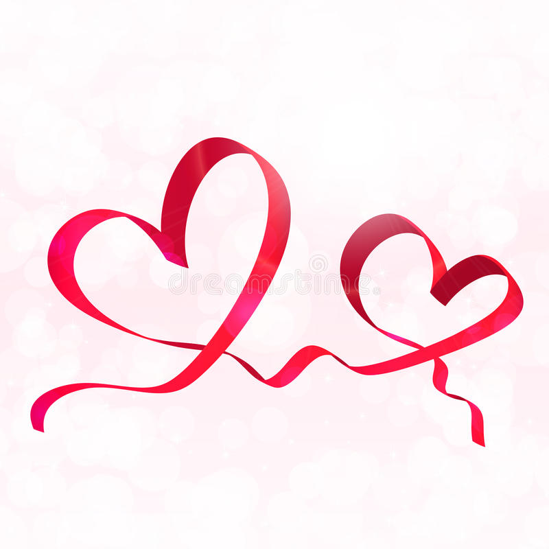 Zwei rote Bandherzen Valentinsgrußtageshintergrundvektor vektor abbildung