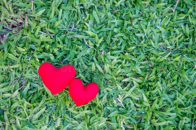 Zwei rote Herzen auf einem Rasenhintergrund Feiertags-Valentinstag, Hochzeit lizenzfreie stockfotos