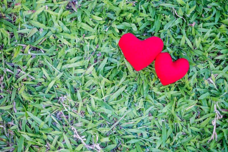 Zwei rote Herzen auf einem Rasenhintergrund Feiertags-Valentinstag, Hochzeit stockfoto