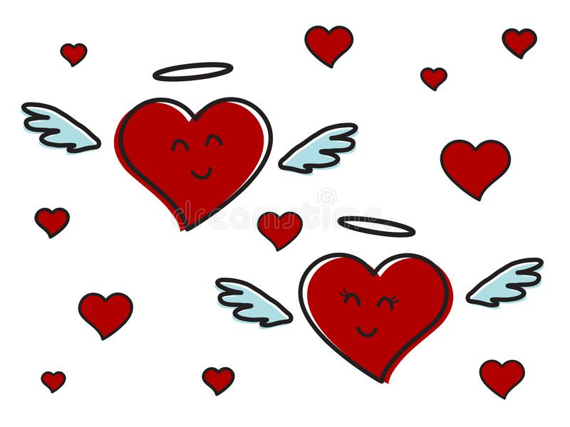 Zwei rote Herzen und Romance stock abbildung