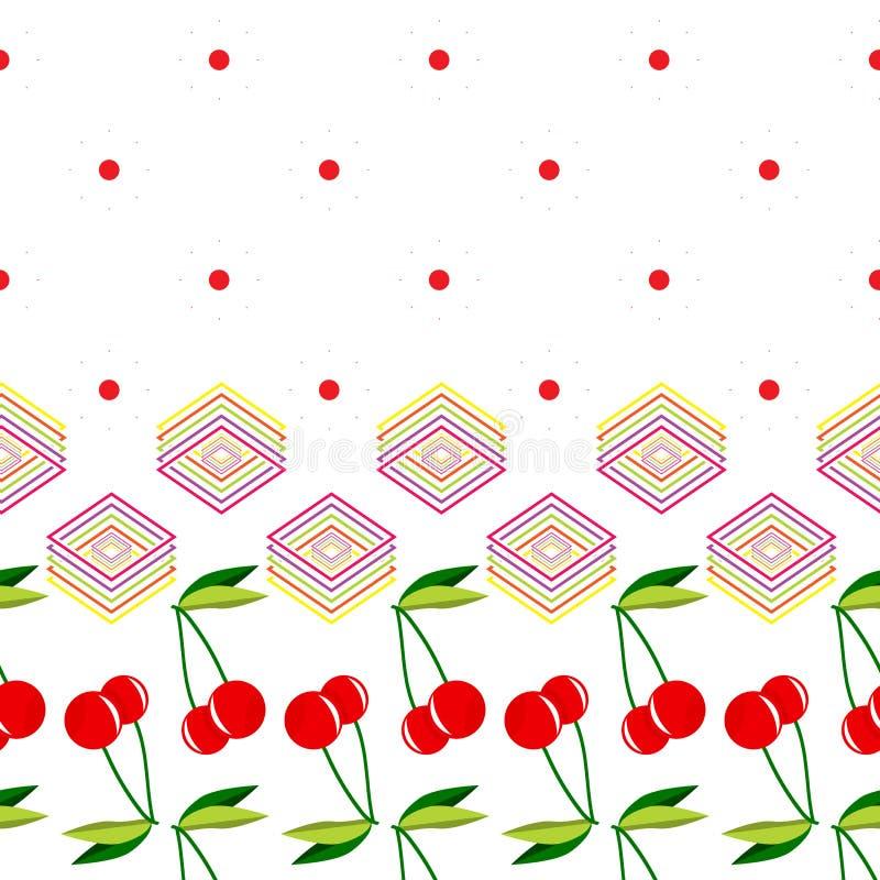 Zwei rote Kirschen mit Blättern und geometrischem Elementmuster stock abbildung