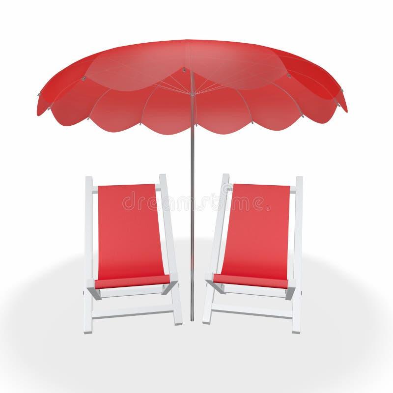 Zwei rote Strand-Stühle unter Regenschirm vektor abbildung