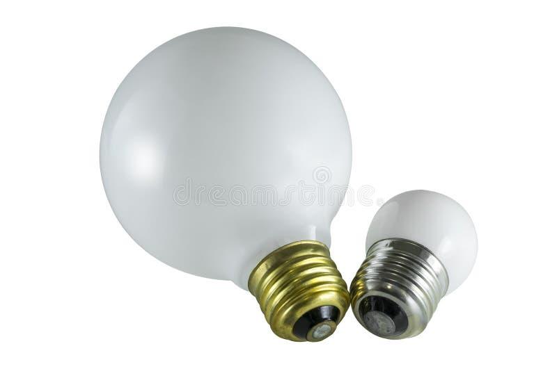 Zwei runde Glühlampen stockfoto