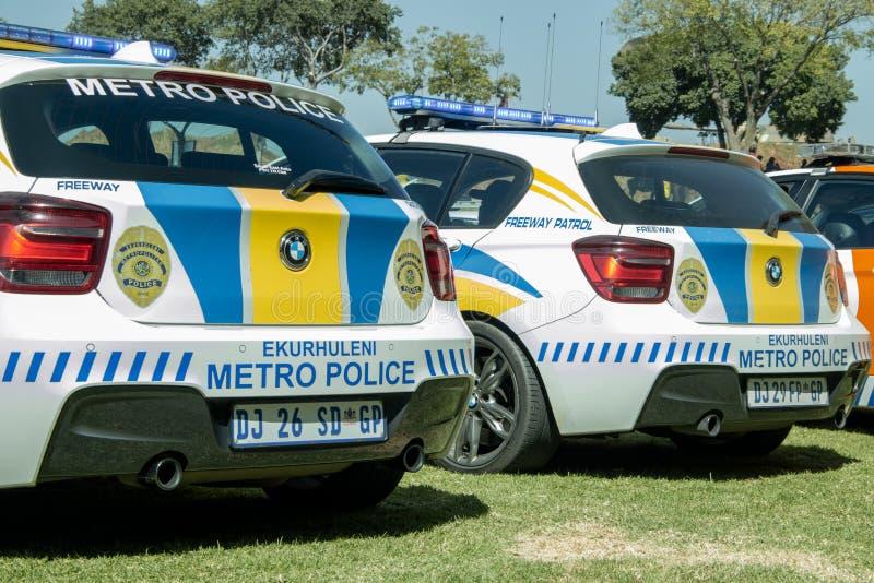 Zwei südafrikanische Polizeiwagen - EMPD-Nahaufnahme lizenzfreies stockbild