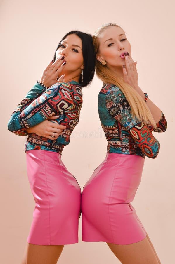 Zwei schöne blonde u. der Brunettemode junge sexy Frauen, die den Spaß aufwirft im gleichen Kleid u. betrachtet Kamera auf rosa W stockbild