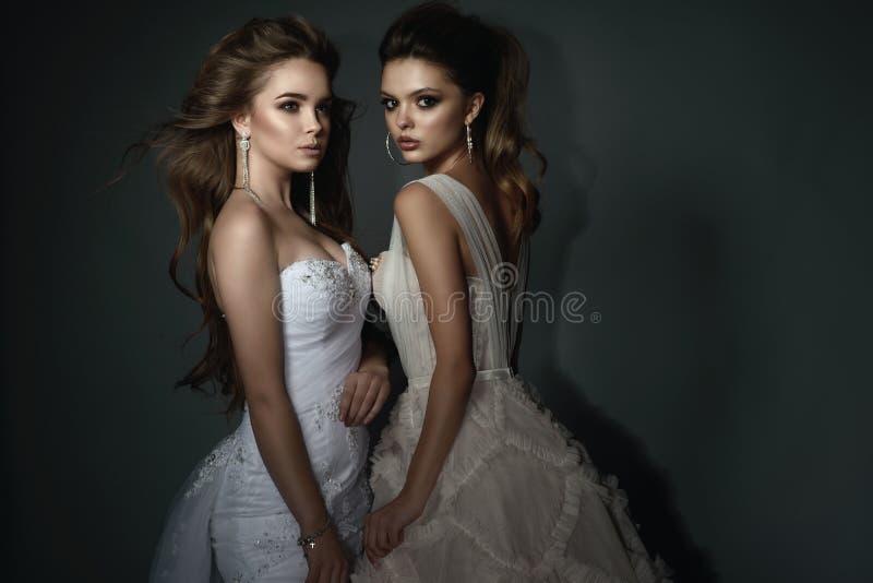 Zwei schöne Bräute mit perfektem bilden und die Frisur, die luxuriöse Brautkleider und herrliche Ohrringe trägt stockfotografie