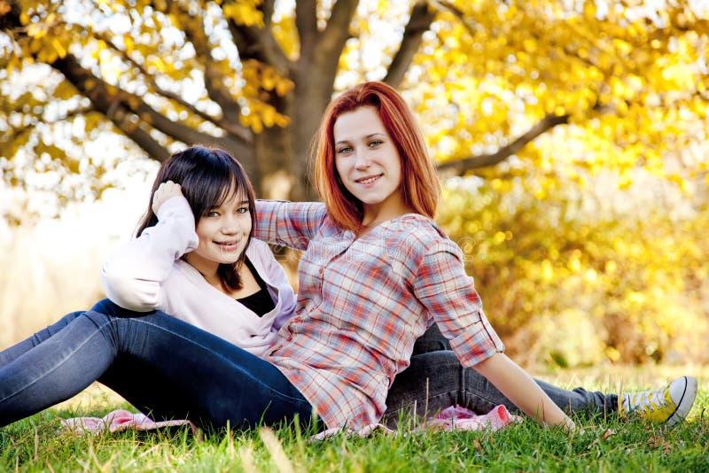 Zwei schöne Freundinnen am Herbstpark stockfotos