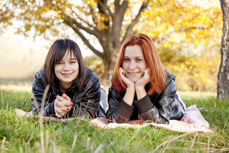 Zwei schöne Freundinnen am Herbstpark stockfotografie
