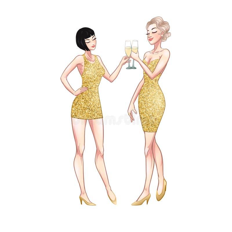 Zwei schöne junge Frauen, die Champagnergläser halten Zwanziger Jahre Retro- Parteistift-obenprallplattenmädchen in den Goldfunke lizenzfreie abbildung
