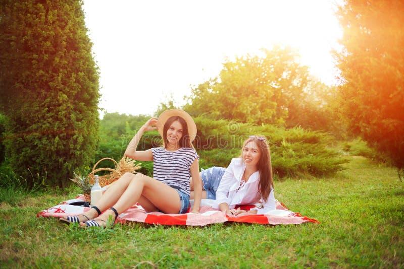 Zwei schöne junge Mädchen sitzen auf einem Sommerpicknick in einem Park lizenzfreie stockfotografie