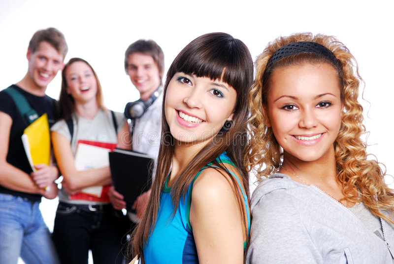 Zwei schöne junge weibliche Kursteilnehmer lizenzfreie stockfotos