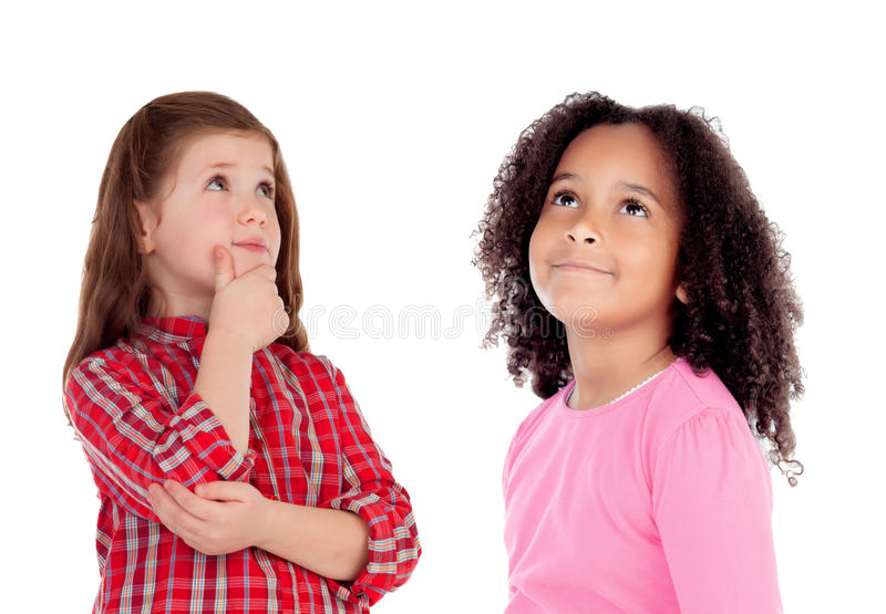 Zwei schöne Kinderdenken stockfotos