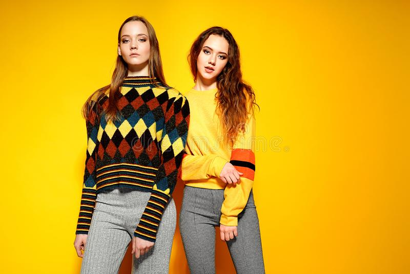 Zwei schöne lächelnde herrliche Mädchen, die Kamera betrachten und in den stilvollen Strickjacken auf gelbem Hintergrund aufwerfe lizenzfreie stockbilder