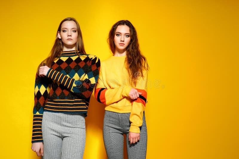 Zwei schöne sexy lächelnde herrliche Mädchen, die Kamera betrachten und in den stilvollen Strickjacken auf gelbem Hintergrund auf stockfotos