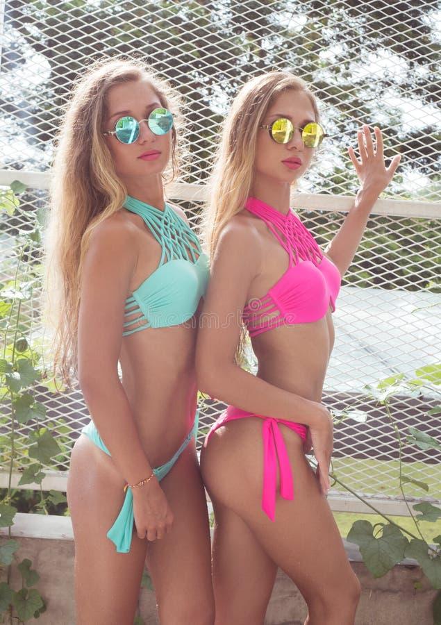 Zwei schönes blondes Zwillingsmädchen stockbild